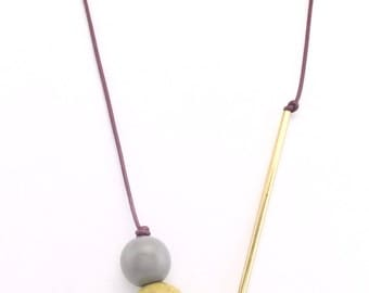 Blue Agate, Lime Matte Jasper, Grey and Brass Leather Asymmetrical Long Necklace