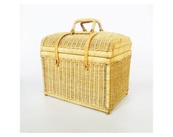 Vintage Rattan Picnic Basket / Trunk