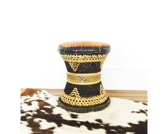 Vintage Rattan and Leather Hourglass Stool