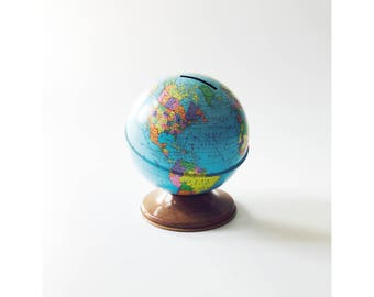Vintage Tin World Globe Bank