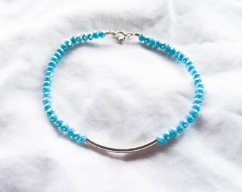 Aline | Sparkly Blue Sterling Silver Beaded Bracelet | Bar Bracelet | Blue Stacking Bracelet