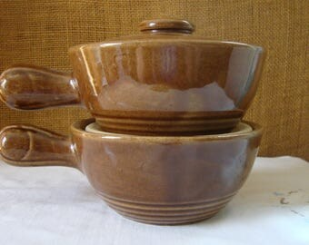2 VINTAGE Covered Soup Bowls Mid Century MCCOY USA Pottery Chili Bowls Pottery Bowls French Onion Soup Bowls Rich Brown Glaze Pottery Pots