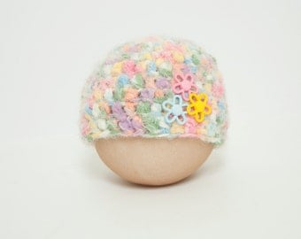 Newborn Fuzzy Spring Confetti Flower Button Beanie Newborn Hat RTS Easter Pastel
