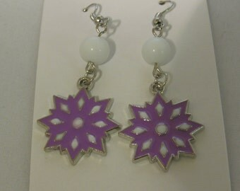 Purple and White Snowflake Earrings