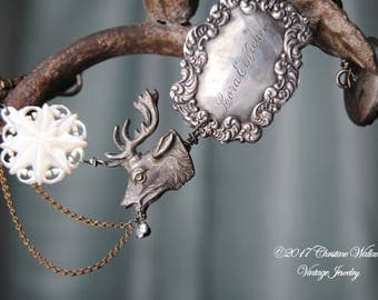 Lora's Grand Tour--Antique Victorian Silver Engraved Luggage Tag Cameo Elk Brooch Carved Mother Of Pearl Bethlehem Star Souvenir BRACELET