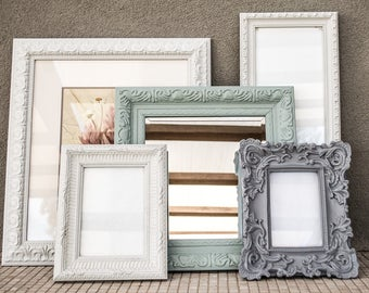 Instant Wall Arrangement 5 Piece / Print, Beveled Mirror, Picture Frames