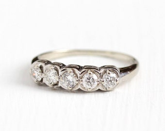 Vintage 14k White Gold .40 CTW Diamond Wedding Band Ring - Size 7 1/4 Mid-Century 1940s 1950s Wedding Fine Bridal Retro Engagement Jewelry