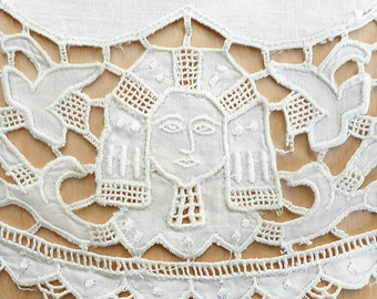 Egyptian Revival Lace Doily, Art Deco