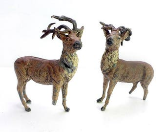 Pair of German Metal Deer Figurines