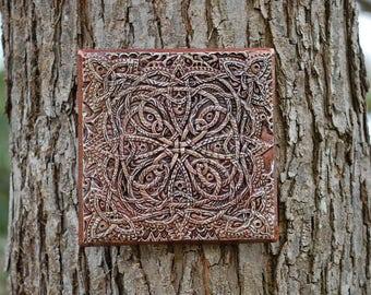 Wall Art Celtic Odyssey, Celtic Knot Garden Art Gift, Irish Stone Sculpture, Irish Home Decor, Celtic Garden Outdoor Wall Plaque