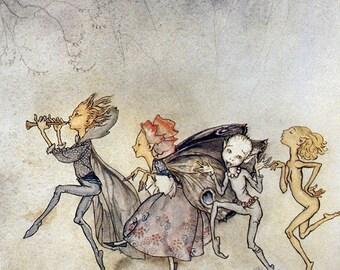 Fairy Procession,  Arthur Rackham, Vinatge Art Print
