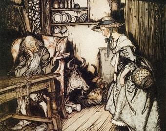 Hut in the Forest,  Arthur Rackham, Vinatge Art Print