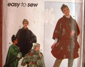 Easy to Sew Misses Cape with Front Opening and Side Velcro Closures One Size fit XS S M L Simplicity Pattern 8403 UNCUT