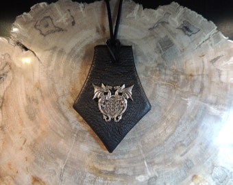 Leather  Pendant (Black leather with Dual Celtic Dragons)