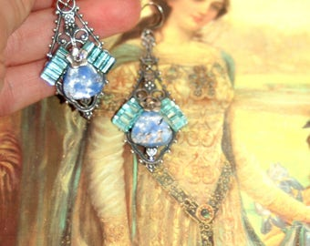 Vintage Aqua glass gothic etruscan arthurian camelot silver goddess earrings