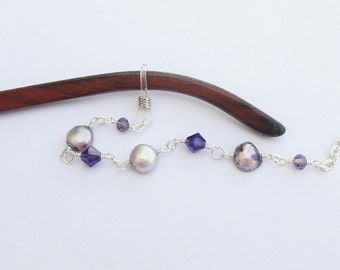 Pearl Glasses Chain, Purple Freshwater Pearl Eyeglass Necklace Holder Chain Beaded, Purple Pearl Lanyard, Reading Glasses Chain Gift for Mom