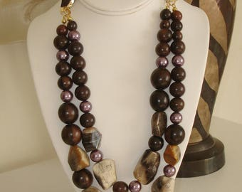 BLACK FRIDAY SALE:  Ashira Rich Natural Petrified Wood Stone, Pearls, Tiger Wood Statement Necklace