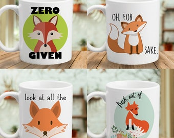 Zero Fox Given - Oh, For Fox Sake - Look at all the Fox I Give - Fresh Out of Fox - Color Accent Mug - 11oz or 15oz