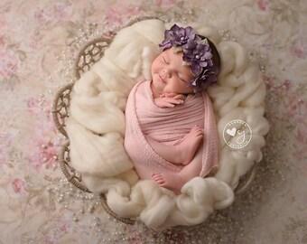 lavender flower headband- pearls,infant headband-flower girl- light purple headband -newborn headband-, fall headband, skinny headband