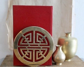 Vintage Asian Brass Bookends, Longevity Bookends For Gumps