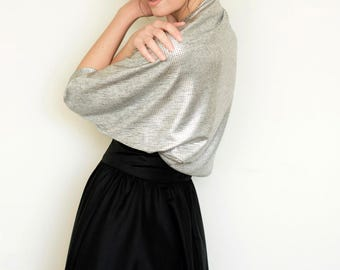 Silver bolero, evening jacket, evening shawls wraps boleros, silver shrug, bridesmaid shawl, cover for evening