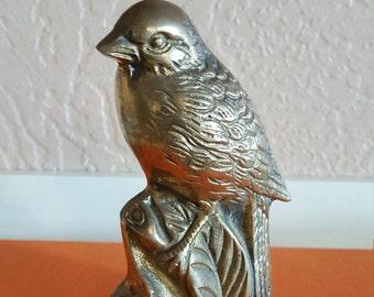 Brass Bird on Tree Stump Figurine - Paperweight - Oak Hill Vintage