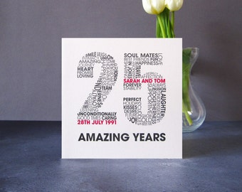 Silver Wedding Anniversary Card - Personalised Wedding Anniversary Card - 25 Years Anniversary Card - 25th Anniversary Card