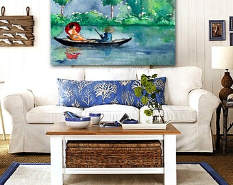 Watercolor Painting - Geisha Japanese Long Boat Seascape Art Print
