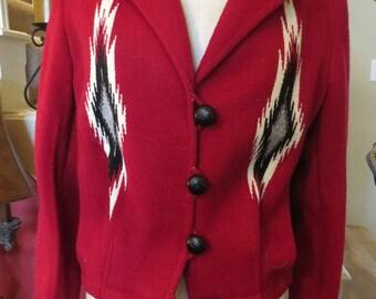 Custom Made Ortega Handwoven Woman's Wool Jacket, NEVER WORN, Southwestern Style, Chimayo, New Mexico,