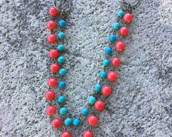 Double strand red and teal necklace