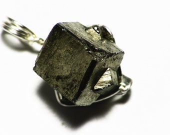 Pyrite Crystal Pendant in Sterling Silver, Raw Pyrite Cubes, Fools Gold Necklace, Intergrown Star of David, Iron Pyrite Jewelry, Geometric