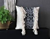 Jacquard pillow cover with fringes 18''x18'', Throw Pillow, Toss Pillow, Cushions, Boho style, gift idea for Christmas