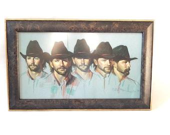 Cowboy Portrait Print by Oklahoma Artist Carol Castor Vintage 1990s Quintessential Cowboy Print Handsome Working Cowboy Framed Print