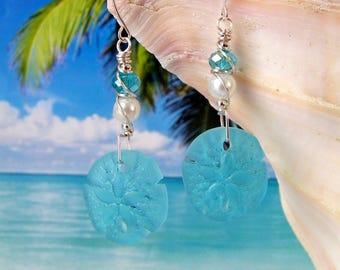 Aqua sand dollar seaglass beads wire wrapped beach earrings, tumbled glass earrings