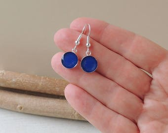 Blue Drop Earrings, Little Blue Charm Earrings, Resin Jewellery, Blue Jewellery, UK. 1327