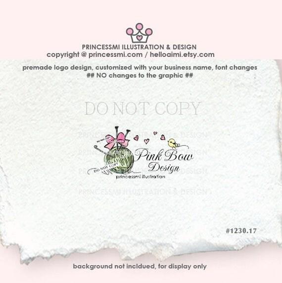 1230-17  ball of yarn logo, knitting logo, pink bow logo, yarn logo, business logo boutique, crochet , yarn, knitting business watermark