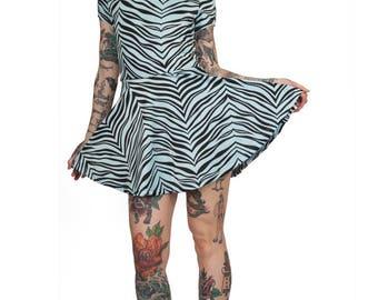 Baby Blue Zebra Skater Dress