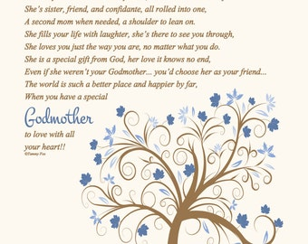 Godmother Gift-To My Aunt/Godmother-Godmother Thank You Gift-Godmother Birthday Gift-Godmother Christmas Gift-Throughout Your Life Poem
