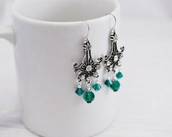 Emerald Earrings, Chandelier Earrings, Victorian Earrings, Romantic Earrings, Emerald Jewelry, Gift for Her, Art Nouveau, Art Deco Earrings