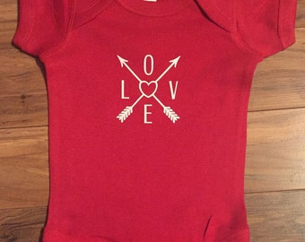 Baby onesie red love arrows personalized onesie baby or toddler