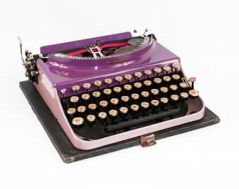 Antique Purple Remington Typewriter: Remington Portable 1930's Fully Serviced Working Typewriter