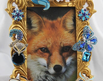 Beautiful Rhinestone and Turquoise and Blue Crystals on a Woodland Themed Jewelry Picture Frame, All Occasion Gift