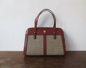 Stunning Vintage '40s/'50s Tweed & Leather Purse, Brass Feet and Hardware Detail, Fleur de Lis Tag