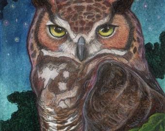 Horned Owl at Night....Original 5x7 Illustration