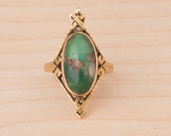 Incredible Turquoise Art Nouveau Hand Carved Solid 10k Gold Ring