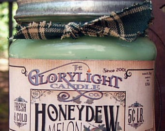 HONEYDEW MELON Mason Jar Soy Candle, Hand Poured, Gift, Home Decor, Made in the USA