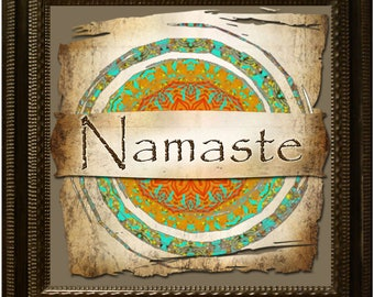 8x8 NAMASTE•Rustic Square Image•Printable Digital Images•Wall ART•Frameable Image•Digital Collage Sheet•Series 1