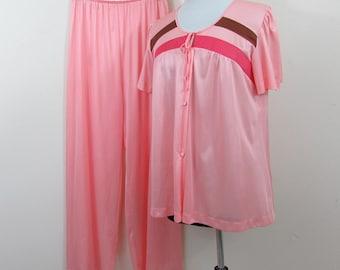 Coral Pink Nylon Pajamas by Gossard Artemis - NWT - 1960s - size Large