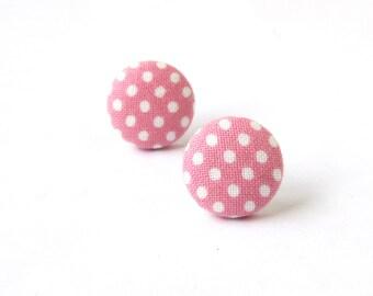 Pink polka dot earrings - pink button earrings - pink fabric earrings - white stud earrings - under 10