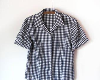 Vintage 1950 Gingham Snap Front Shirt |  Size Medium